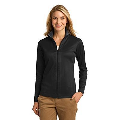 Port Authority Women's Vertical Texture Full Zip Jacket XL Black/Iron Grey