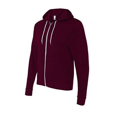 Bella 3739 Unisex Poly-Cotton Fleece Full-Zip Hoodie - Maroon, Extra Small