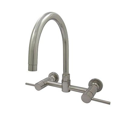 Kingston Brass KS8178DL Concord 8-Inch Center set Wall Mount C-Spout Double Handle Kitchen Faucet Sa