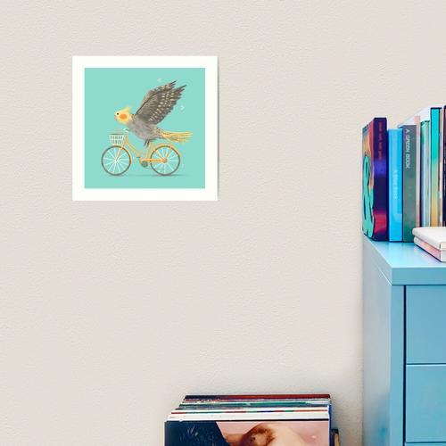 Nymphensittich auf einem Fahrrad Kunstdruck