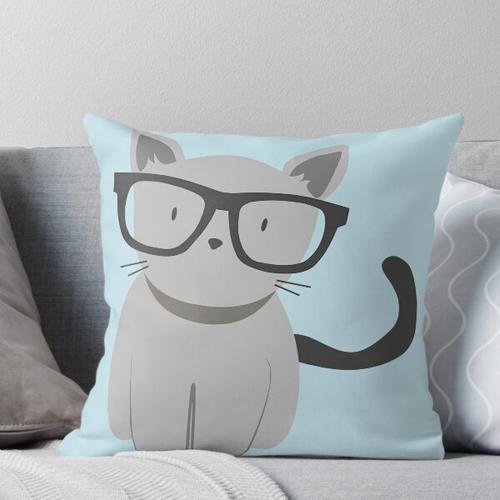 Hipster Cat mit Brille Kissen