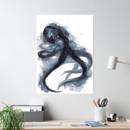 Galaxy Octopus Poster