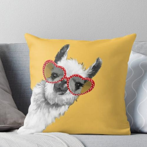 Mode Hipster Lama mit Brille Kissen