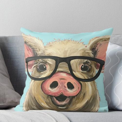 Nette Schwein-Kunst, Schwein mit Gläsern Kissen