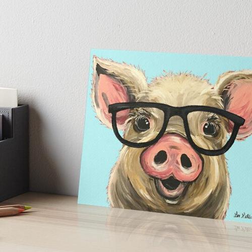 Nette Schwein-Kunst, Schwein mit Gläsern Galeriedruck