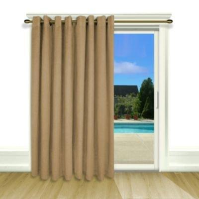 """Ricardo 04600-79-484-44 New Castle Lined Grommet Patio Panel with Wand 106"""" x 84"""" Toffee"""