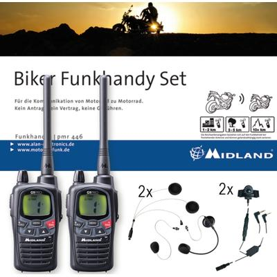 MIDLAND G9 Plus Bikerset Ensemble de radio double Pack, noir