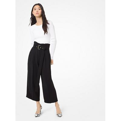Michael Kors Belted Pleated Culottes Black 00