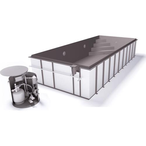 Skimmerpool-Komplettset G1 mit Skimmer 3,45 x 8,00m und Pool-Überdachung / Pooldach