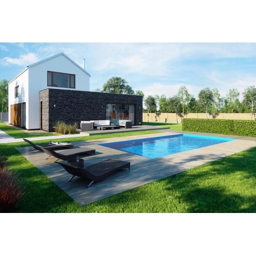 Einbaupool-Komplettset G1 mit Skimmer Einbaubecken 3,45 x 8,00m und Pool-Überdachung / Pooldach