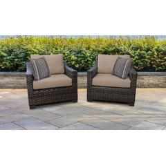 kathy ireland Homes & Gardens River Brook 2 Piece Outdoor Wicker Patio Furniture Set 02b in Toffee - TK Classics River-02B-Wheat