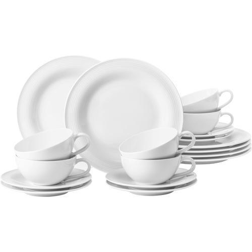 Seltmann Weiden Teeservice Beat, (Set, 18 tlg.), 400 ml, Rillendekor weiß Geschirr-Sets Geschirr, Porzellan Tischaccessoires Haushaltswaren
