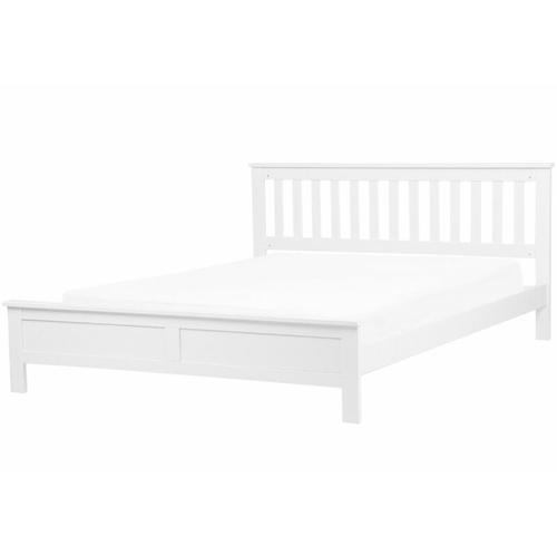 Holzbett Weiß Lattenrost 180 x 200 cm Doppelbett Glamour