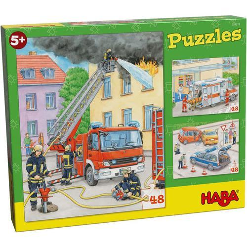 HABA Puzzles Einsatzfahrzeuge, bunt