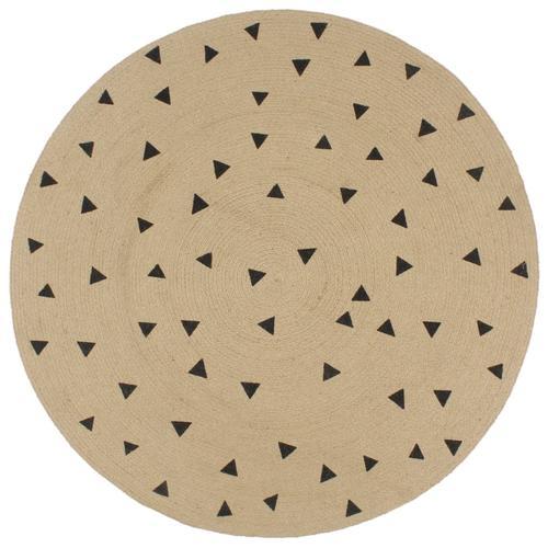 vidaXL Teppich Handgefertigt Jute mit Dreiecksmuster 150 cm
