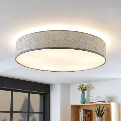Deckenlampe Gordana aus grauem Leinen, 76 cm