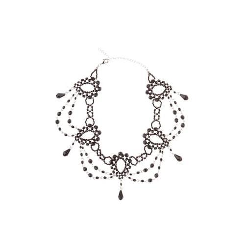 Große Größen Trachtenkette Damen (Größe One Size, schwarz) | Ulla Popken Schmuck | Polyacryl/Messing, kurze Collierform