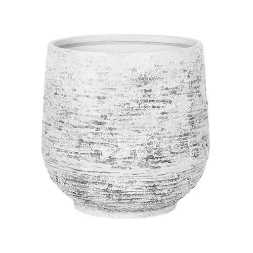 Blumentopf Hellgrau ø 43 cm Faser-Mischung in Steinoptik Rund Modernes Design