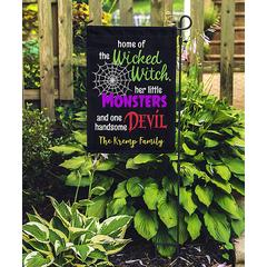 Stamp Out Garden Flags Black - Black & Purple 'Wicked Witch' Personalized Name Garden Flag