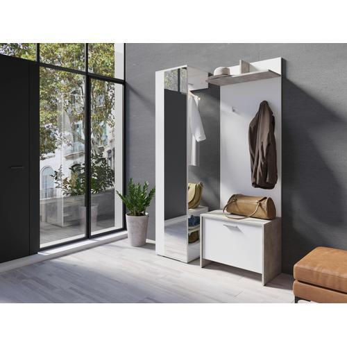 Homexperts Garderobenschrank Benno, mit Spiegel weiß Garderobenschränke Garderoben