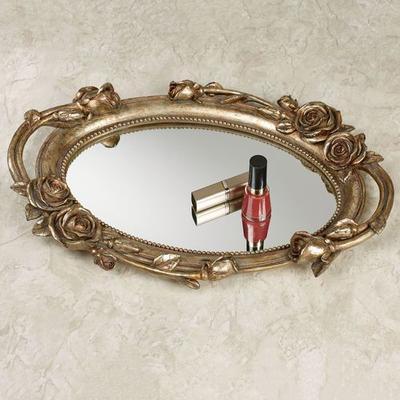Rose Melody Mirrored Vanity Tray Venetian Gold , Venetian Gold