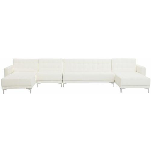 Beliani - Sofa Weiß Kunstleder U-Förmig Wohnlandschaft Schlaffunktion Klassisch Wohnzimmer