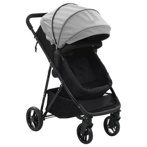vidaXL 2-in-1 Buggy/Kinderwagen Grau und Schwarz Stahl