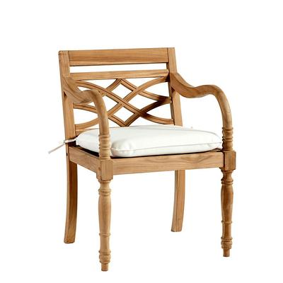 Ceylon Teak Armchair Replacement Cushion Canvas Rust Sunbrella - Ballard Designs