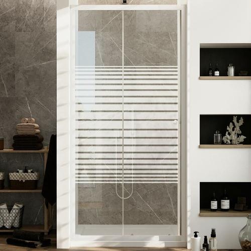 Duschtür Weiß 100 CM H185 mit Milchglas Streifen Mod. Blanc
