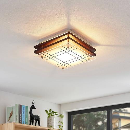 Holz-Deckenlampe Thees mit kariertem Glas, 23,5 cm