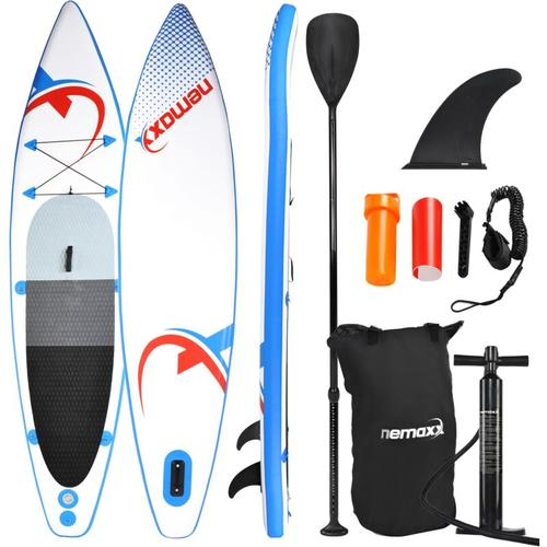 Nemaxx PB335 Stand up Paddle Board 335x74x15cm, blau/rot - SUP, Surfbrett, Surf-Board - aufblasbar