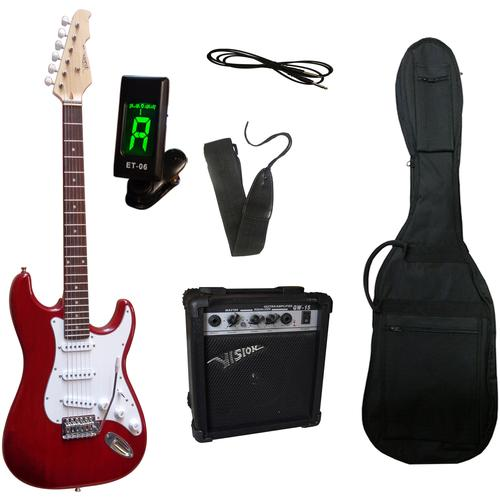 Gitarrenset E-Gitarre - ready to go, inkl. Verstärker, Gitarrentasche, Gitarrengurt, Klinkenkabel und Stimmgerät rot Gitarre Musikinstrumente
