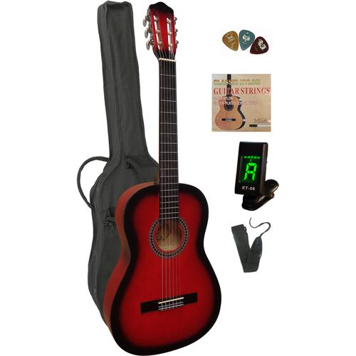 Konzertgitarre, 4/4, inkl. Gitarrentasche, Gitarrengurt, Saiten, 3 Plektren und Stimmgerät rot Gitarre Musikinstrumente Konzertgitarre