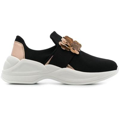 Flower Appliqué Sneakers - Black - Tosca Blu Sneakers