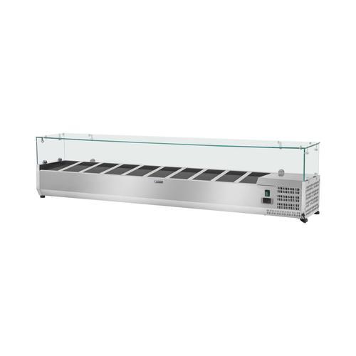 Royal Catering Kühlaufsatzvitrine - 200 x 33 cm - 10 GN 1/4 Behälter - Glasabdeckung RCKV-200/33-10