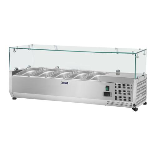 Royal Catering Kühlaufsatzvitrine - 120 x 33 cm - 5 GN 1/4 Behälter - Glasabdeckung RCKV-120/33-5