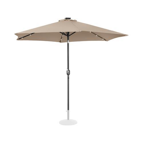 Uniprodo Sonnenschirm mit LED - creme - rund - Ø 300 cm - neigbar UNI_UMBRELLA_TR300CRL
