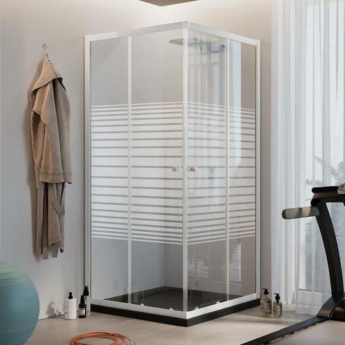 Quadratisch Duschkabine Weiß 75x75 CM H185 mit Milchglas Streifen Mod. Blanc