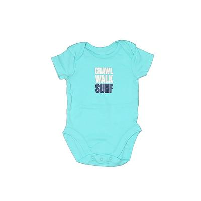 The Children's Place Short Sleeve Onesie: Blue Solid Bottoms - Size 0-3 Month