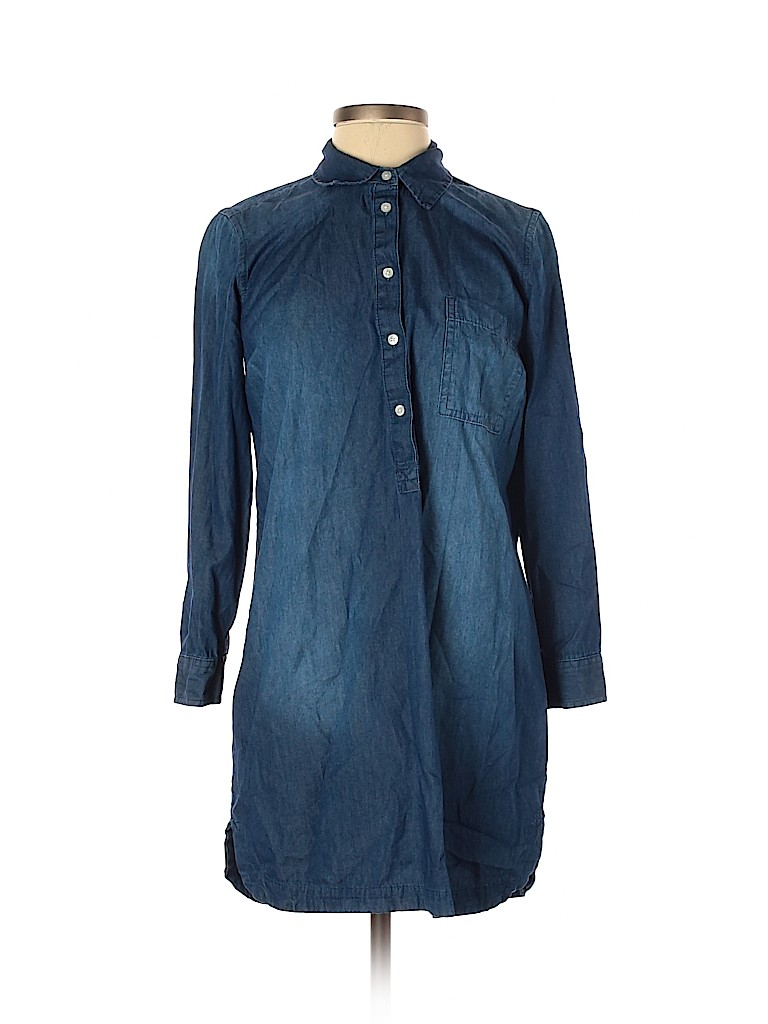 Old Navy Casual Dress - Shirtdress: Blue Solid Dresses - Used - Size X-Small Petite