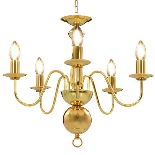 vidaXL Kronleuchter Golden 5 x E14-Glühbirnen