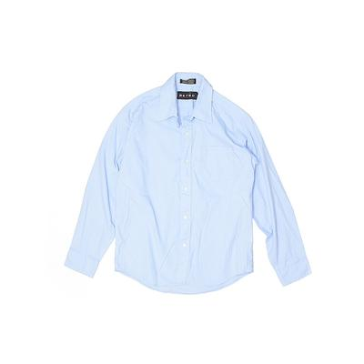 Retro Long Sleeve Button Down Shirt: Blue Tops - Size 14