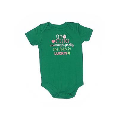 Assorted Brands Short Sleeve Onesie: Green Bottoms - Size 24 Month