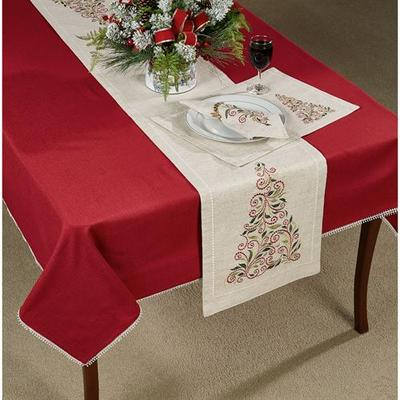 French Perle Tree Table Runner Natural 14 x 70, 14 x 70, Natural