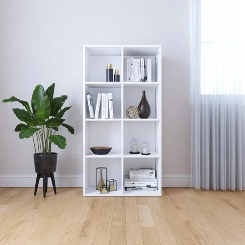 vidaXL Bücherregal/Sideboard Weiß 66×30×130 cm Spanplatte