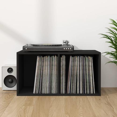 vidaXL Schallplatten-Aufbewahrungsbox Schwarz 71×34×36 cm Spanplatte