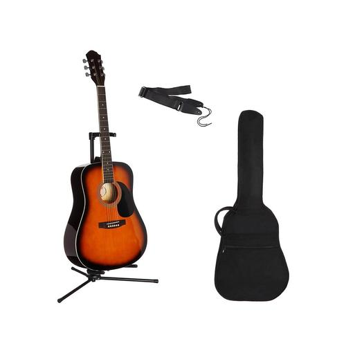 Gitarrenset Westerngitarre, 4/4, mit Tasche und Gitarrengurt braun Gitarre Musikinstrumente