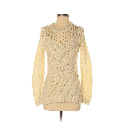 Bar III Pullover Sweater: Ivory Color Block Tops - Size X-Small
