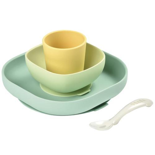 Beaba 4-tlg. Babygeschirr-Set Silikon Gelb und Grün