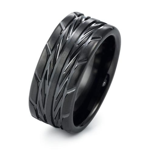 Fingerring Edelstahl mit Reifenprofil PVD schwarz